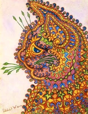 By now the psychedelic patterned backgrounds have slipped into the cat itself, resulting in surreal patterns and colours enclosed in an outline of a cat's body. This cat looks quite sad or depressed, in comparison to the above cats which look quite surprised or anxious. Depression and Anxiety are typical mental dysfunctions experienced by those suffering from schizophrenia, although in a much more extreme form.